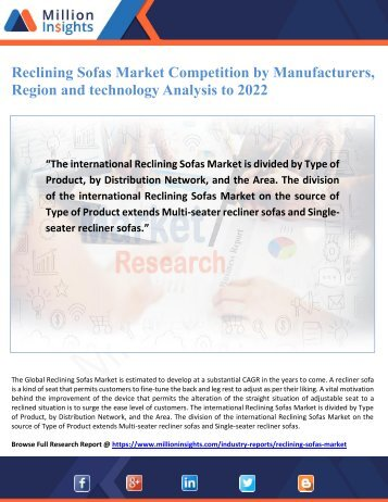 Reclining Sofas Market Competition by Manufacturers, Region and technology Analysis to 2022
