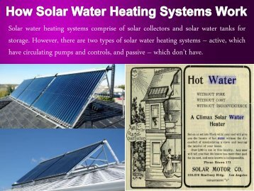 How Solar Water Heating Systems Work