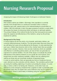 Sample Nursing Research Proposal