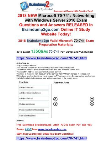 [2018-March-Version]New 70-741 PDF and 70-741 VCE Dumps Free Share(58-68)