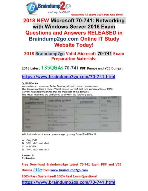 2018-March-Version]New 70-741 VCE and 70-741 PDF Dumps Free