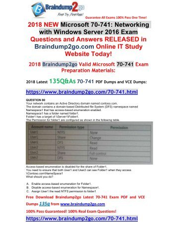 [2018-March-Version]New 70-741 PDF Dumps Free Share(80-90)