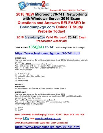 [2018-March-Version]New 70-741 VCE Dumps Free Share(36-46)