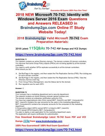 [2018-March-Version]New 70-742 PDF Dumps Free Share(71-81)