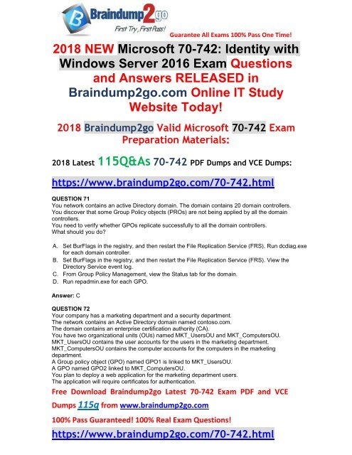 2018 March Version New 70 742 Pdf Dumps Free Share 71 81