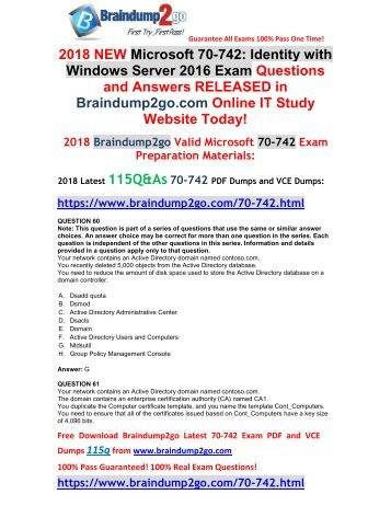 [2018-March-Version]New 70-742 VCE and 70-742 PDF Dumps Free Share(60-70)