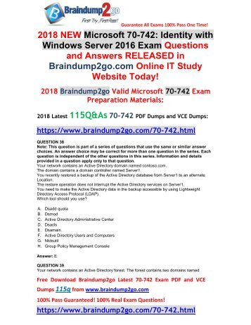 [2018-March-Version]New 70-742 PDF and VCE Dumps Free Share(38-48)