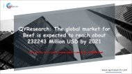 QYResearch: The global market for Beef is expected to reach about 232243 Million USD by 2021
