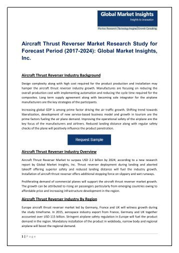 Aircraft Thrust Reverser Market – Business and Innovation Trends 2017-2024