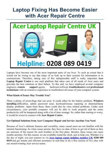 Laptop Fixing Has Become Easier with Acer Repair Centre
