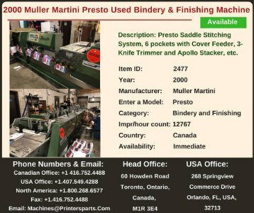 Buy Used 2000 Muller Martini Presto Bindery and Finishing Machine