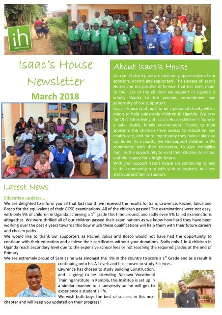 Isaac's House Newsletter - March 2018