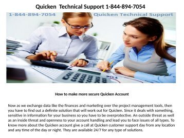 Quicken Technical support number  1-844-894-7054
