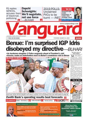 13032018 - Benue: I'm surprised IGP Idris disobeyed my directive—BUHARI