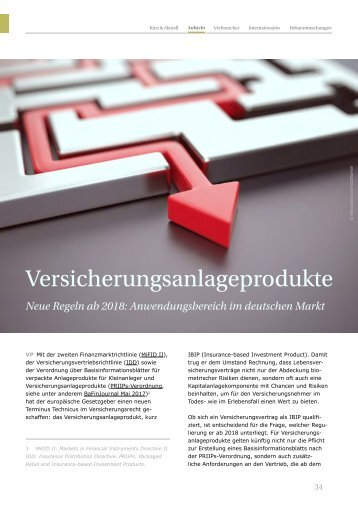 BaFin Journal Versicherungsanlageprodukte