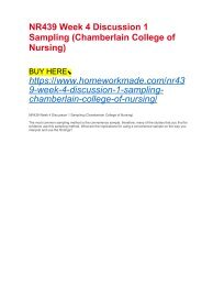 NR439 Week 4 Discussion 1 Sampling (Chamberlain College of Nursing)