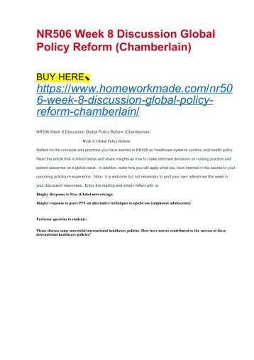 NR506 Week 8 Discussion Global Policy Reform (Chamberlain)