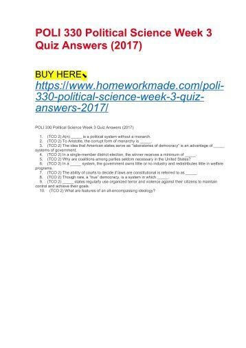 POLI 330 Political Science Week 3 Quiz Answers (2017)
