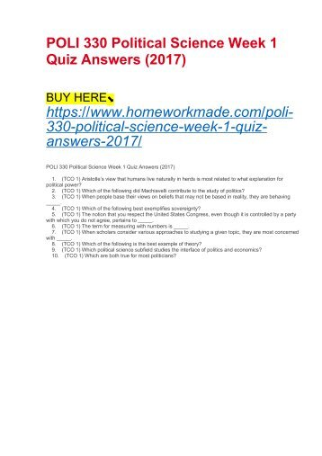 POLI 330 Political Science Week 1 Quiz Answers (2017)