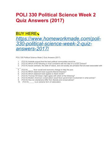 POLI 330 Political Science Week 2 Quiz Answers (2017)