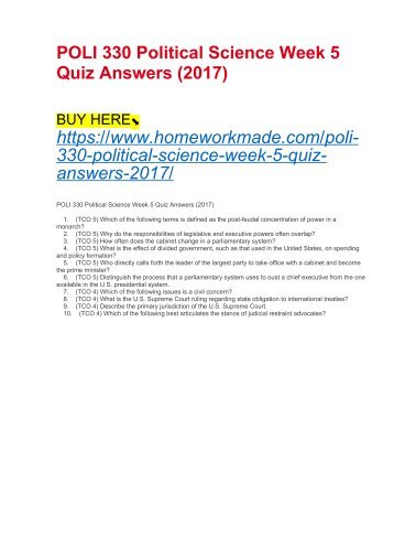 POLI 330 Political Science Week 5 Quiz Answers (2017)
