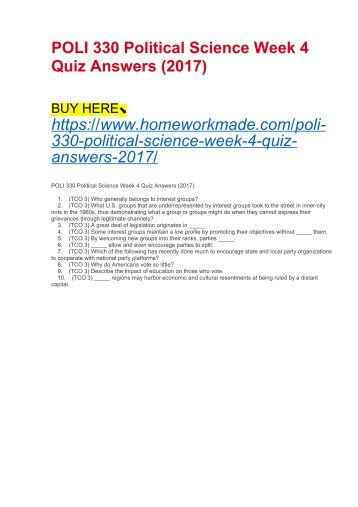 POLI 330 Political Science Week 4 Quiz Answers (2017)
