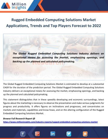 Rugged Embedded Computing Solutions Market Applications, Trends and Top Players Forecast to 2022