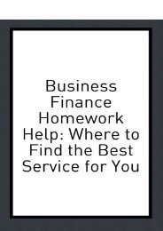 Business Finance Homework Help - Where to Find the Best Service for You