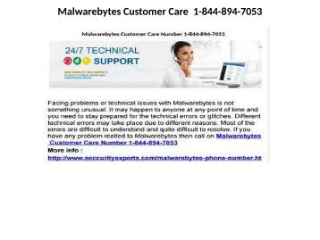 Malwarebytes customer support  1-844-894-7053