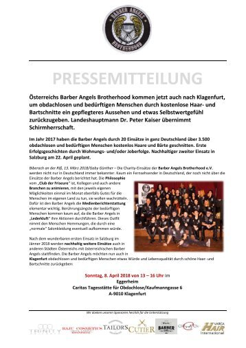 Landeshauptmann Dr. Peter Kaiser übernimmt Schirmherrschaft für Aktion der Barber Angels in Klagenfurt