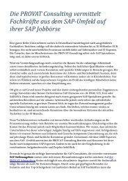 Die PROVAT Consulting vermittelt Fachkräfte aus dem SAP-Umfeld auf ihrer SAP Jobbörse
