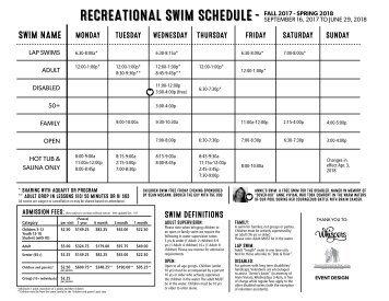 Dovercourt Recreational Swim schedule - from Apr 3 - June 29, 2018