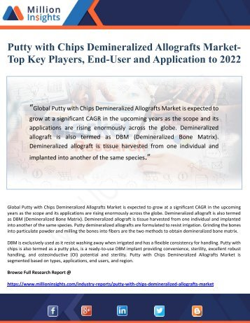 Putty with Chips Demineralized Allografts Market-  Top Key Players, End-User and Application to 2022