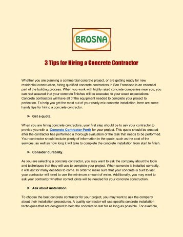 3 Tips for Hiring a Concrete Contractor