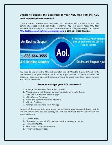 AOL Email desktop software 1-888-664-3555 support phone number