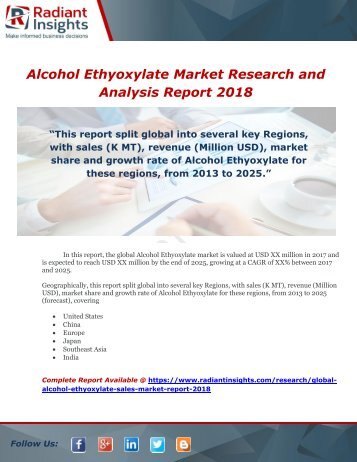 Global Alcohol Ethyoxylate Sales Market Report 2018