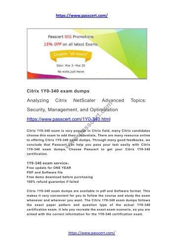 Citrix 1Y0-340 exam dumps