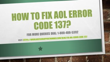 18004885392 How to Fix AOL error Code 137