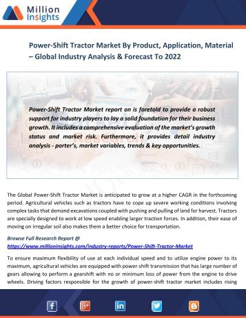 Power-Shift Tractor Market By Product, Application, Material – Global Industry Analysis & Forecast To 2022