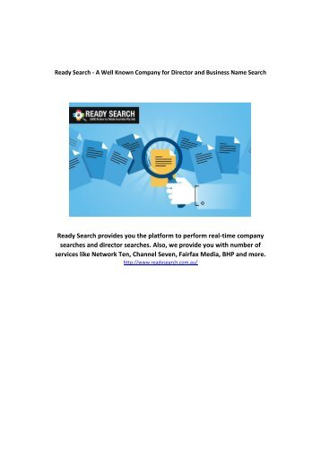 Ready Search - A Well Known Company for Director and Business Name Search