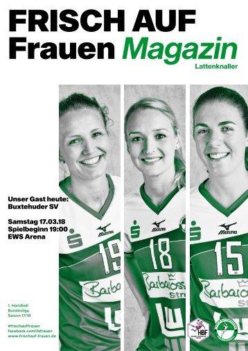 """Ausgabe 9 - Saison 2017/2018 - FRISCH AUF Frauen Magazin """"LATTENKNALLER"""""""