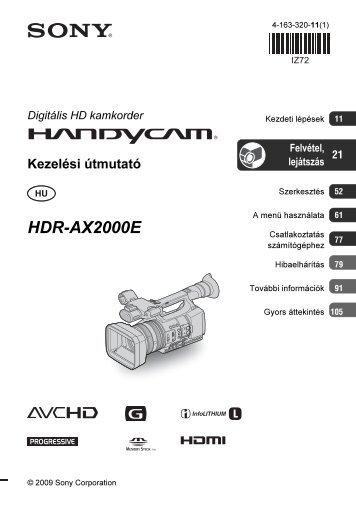 Sony HDR-AX2000E - HDR-AX2000E Mode d'emploi Hongrois