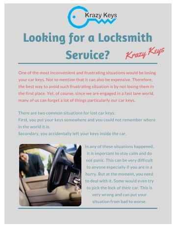 Are you Looking for a Locksmith Service?