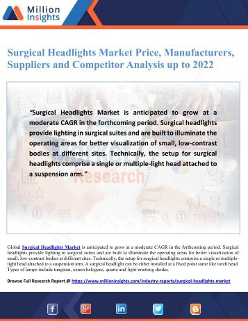 Surgical Headlights Market Price, Manufacturers, Suppliers and Competitor Analysis up to 2022