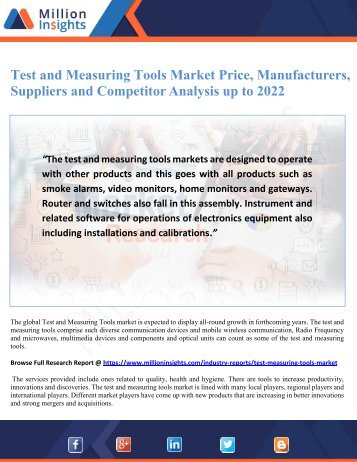 Test and Measuring Tools Market Price, Manufacturers, Suppliers and Competitor Analysis up to 2022