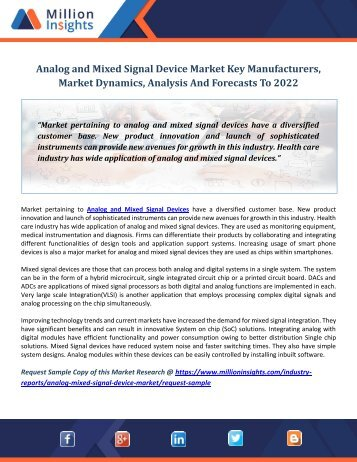 Analog and Mixed Signal Device Market Key Manufacturers, Market Dynamics, Analysis And Forecasts To 2022