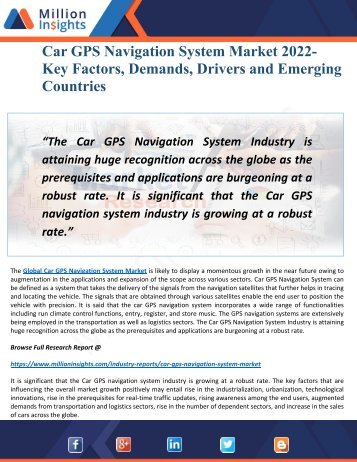 Car GPS Navigation System Market 2022 New Opportunities, Key Trends and Growth Factors