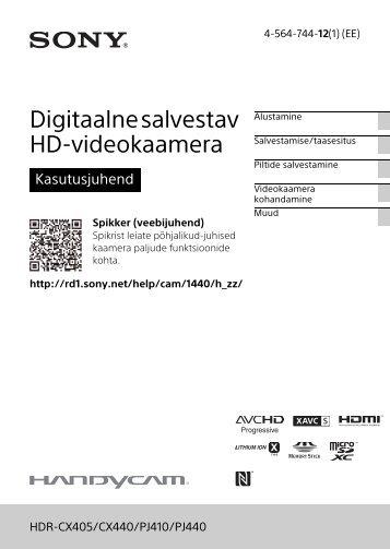 Sony HDR-PJ410 - HDR-PJ410 Consignes d'utilisation Estonien