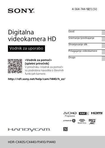 Sony HDR-PJ410 - HDR-PJ410 Consignes d'utilisation Slovénien