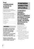 Sony HDR-PJ410 - HDR-PJ410 Consignes d'utilisation Slovénien - Page 2